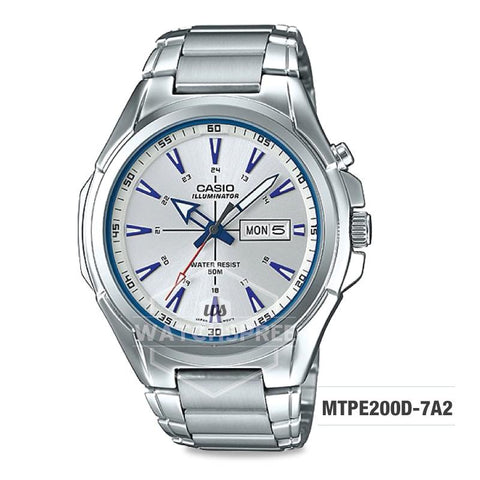 Casio Men's Standard Analog Silver Stainless Steel Band Watch MTPE200D-7A2 MTP-E200D-7A2