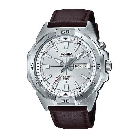 Casio Men's Standard Analog Dark Brown Leather Strap Watch MTPE203L-7A MTP-E203L-7A