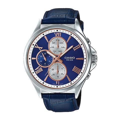 Casio Men's Standard Analog Blue Leather Watch MTPE316L-2A2 MTP-E316L-2A2
