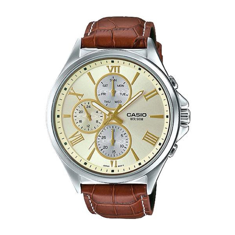 Casio Men's Standard Analog Brown Leather Watch MTPE316L-9A MTP-E316L-9A