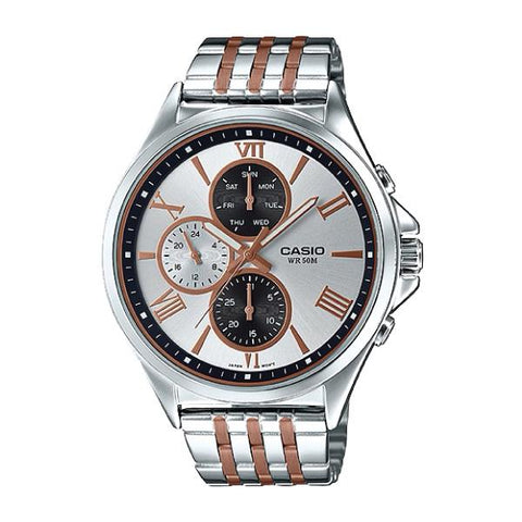 Casio Men's Standard Analog Two Tone Rose Gold Ion Plated Band Watch MTPE316RG-7A MTP-E316RG-7A