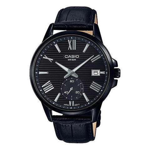 Casio Men's Analog Black Leather Band Watch MTPEX100BL-1A MTP-EX100BL-1A