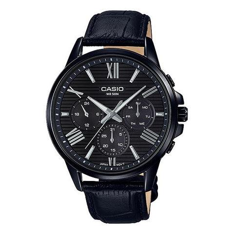 Casio Men's Multi-Hand Black Leather Band Watch MTPEX300BL-1A MTP-EX300BL-1A