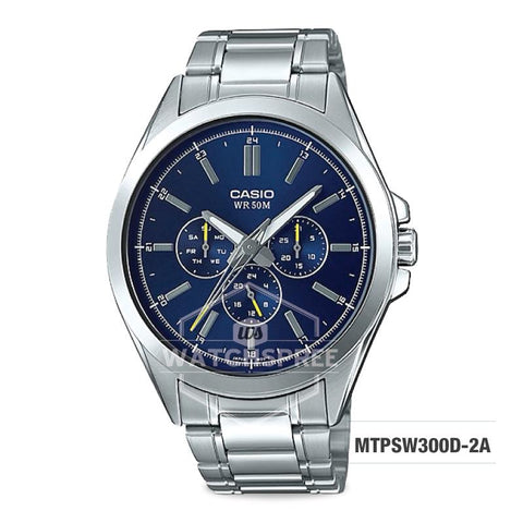 Casio Men's Multi-Hands Series Silver Stainless Steel Band Watch MTPSW300D-2A MTP-SW300D-2A