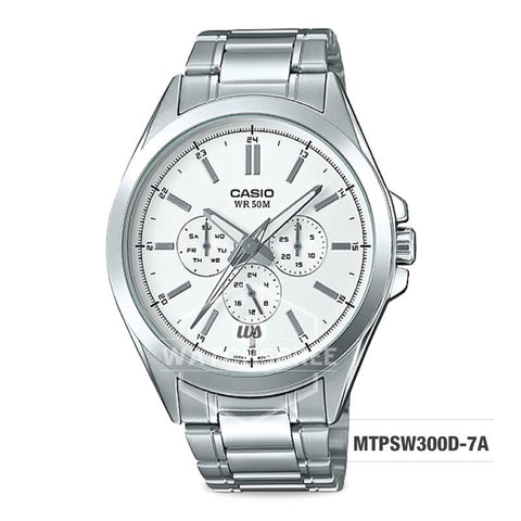 Casio Men's Multi-Hands Series Silver Stainless Steel Band Watch MTPSW300D-7A MTP-SW300D-7A