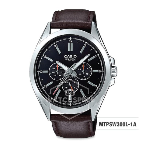 Casio Men's Multi-Hands Series Brown Genuine Leather Band Watch MTPSW300L-1A MTP-SW300L-1A