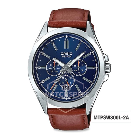 Casio Men's Multi-Hands Series Brown Genuine Leather Band Watch MTPSW300L-2A MTP-SW300L-2A