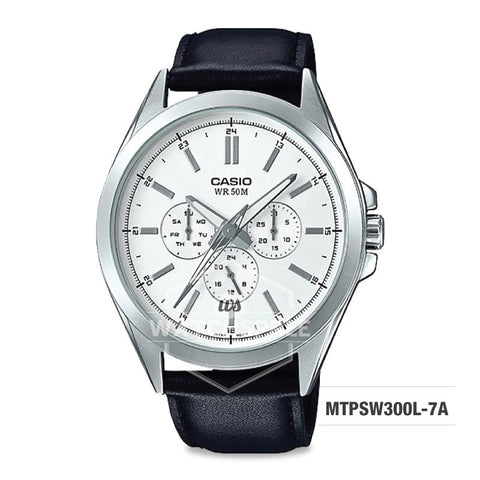 Casio Men's Multi-Hands Series Black Genuine Leather Band Watch MTPSW300L-7A MTP-SW300L-7A
