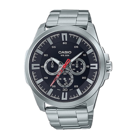 Casio Men's Standard Analog Silver Stainless Steel Band Watch MTPSW310D-1A MTP-SW310D-1A