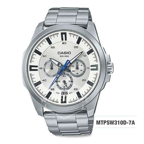 Casio Men's Standard Analog Silver Stainless Steel Band Watch MTPSW310D-7A MTP-SW310D-7A