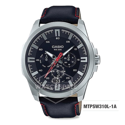 Casio Men's Standard Analog Black Leather Strap Watch MTPSW310L-1A MTP-SW310L-1A