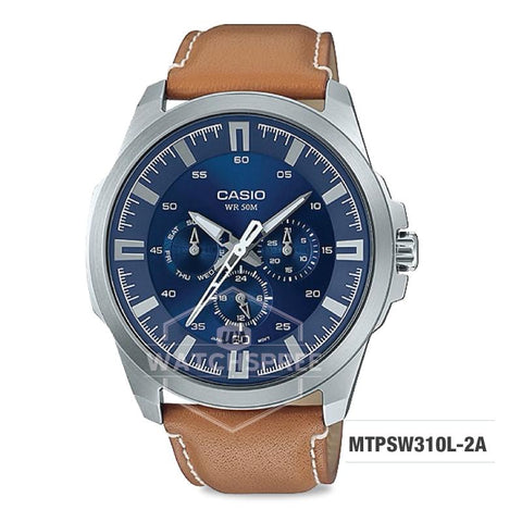 Casio Men's Standard Analog Light Brown Leather Strap Watch MTPSW310L-2A MTP-SW310L-2A
