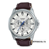 Casio Men's Standard Analog Dark Brown Leather Strap Watch MTPSW310L-7A MTP-SW310L-7A