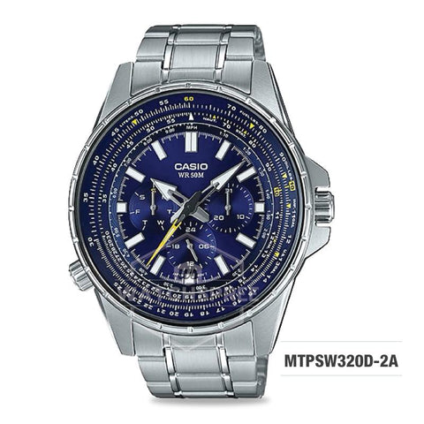 Casio Men's Standard Analog Silver Stainless Steel Band Watch MTPSW320D-2A MTP-SW320D-2A