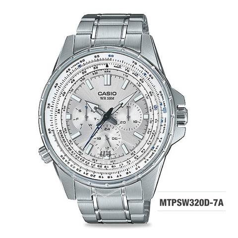 Casio Men's Standard Analog Silver Stainless Steel Band Watch MTPSW320D-7A MTP-SW320D-7A