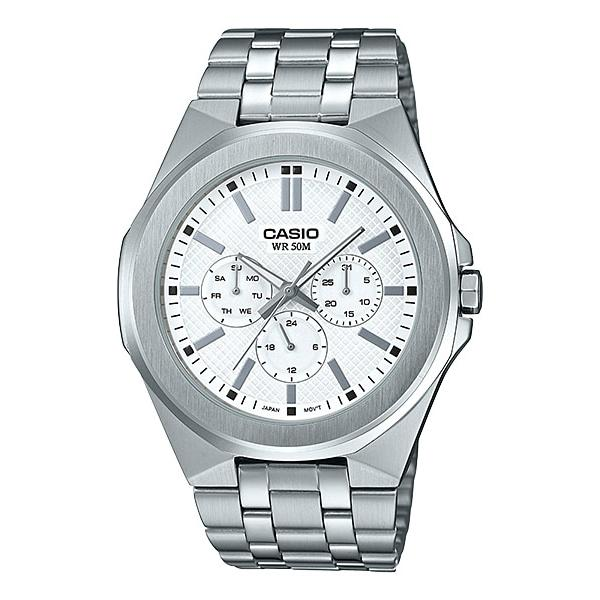 Casio Men's Multi-Hand Silver Stainless Steel Band Watch MTPSW330D-7A MTP-SW330D-7A