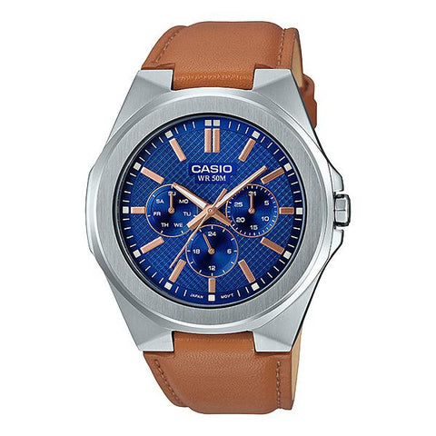 Casio Men's Multi-Hand Light Brown Leather Band Watch MTPSW330L-2A MTP-SW330L-2A