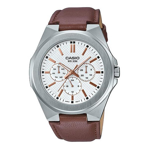 Casio Men's Multi-Hand Dark Brown Leather Band Watch MTPSW330L-7A MTP-SW330L-7A