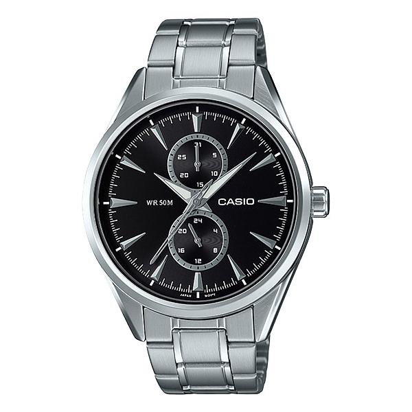 Casio Men's Multi-Hand Silver Stainless Steel Band Watch MTPSW340D-1A MTP-SW340D-1A