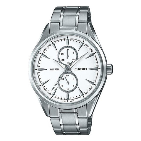 Casio Men's Multi-Hand Silver Stainless Steel Band Watch MTPSW340D-7A MTP-SW340D-7A