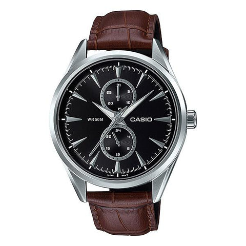 Casio Men's Multi-Hand Dark Brown Leather Band Watch MTPSW340L-1A MTP-SW340L-1A