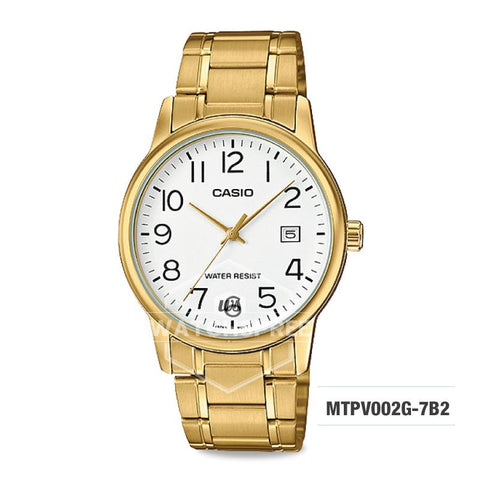 Casio Men's Standard Analog Gold Tone Stainless Steel Band Watch MTPV002G-7B2 MTP-V002G-7B2
