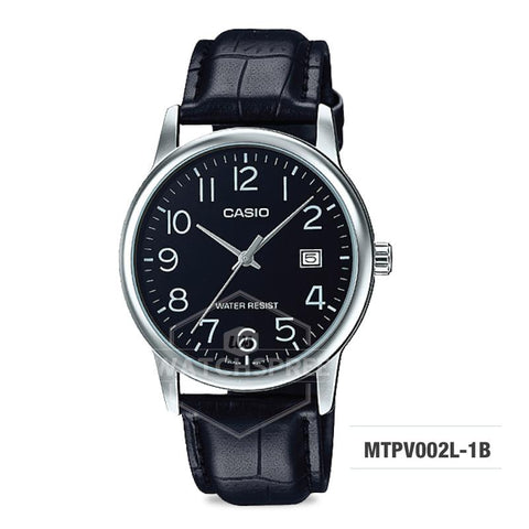 Casio Men's Standard Analog Black Leather Strap Watch MTPV002L-1B MTP-V002L-1B