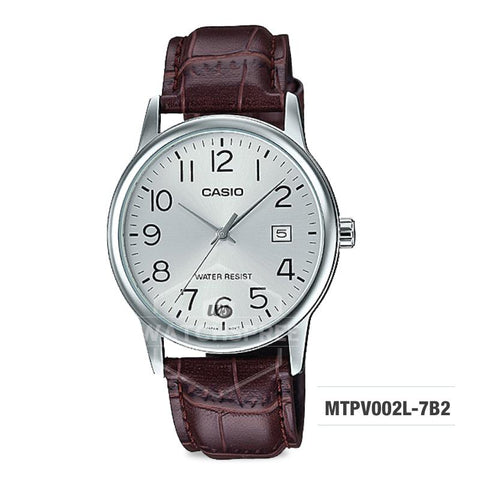 Casio Men's Standard Analog Dark Brown Leather Strap Watch MTPV002L-7B2 MTP-V002L-7B2