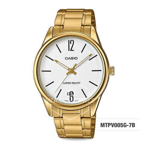 Casio Men's Standard Analog Gold Tone Stainless Steel Band Watch MTPV005G-7B MTP-V005G-7B