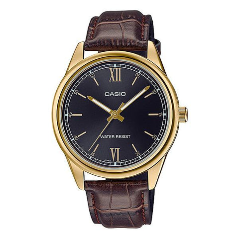 Casio Men's Analog Brown Leather Band Watch MTPV005GL-1B2 MTP-V005GL-1B2