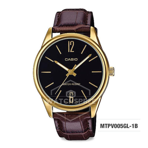 Casio Men's Standard Analog Brown Leather Strap Watch MTPV005GL-1B MTP-V005GL-1B