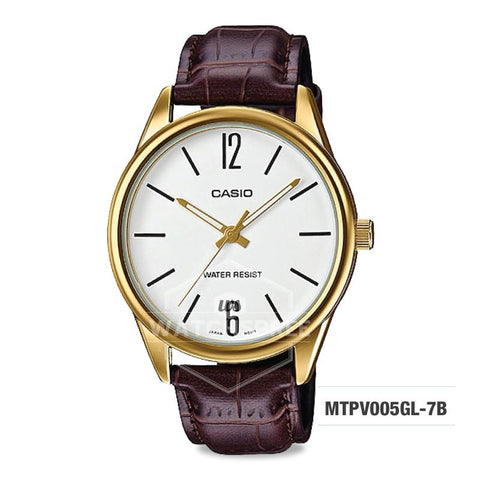 Casio Men's Standard Analog Brown Leather Strap Watch MTPV005GL-7B MTP-V005GL-7B