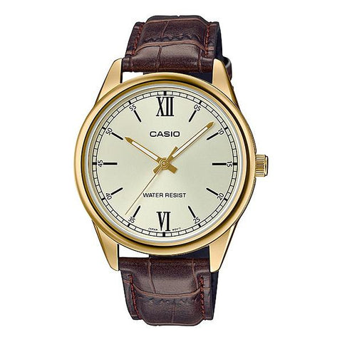 Casio Men's Analog Brown Leather Band Watch MTPV005GL-9B MTP-V005GL-9B