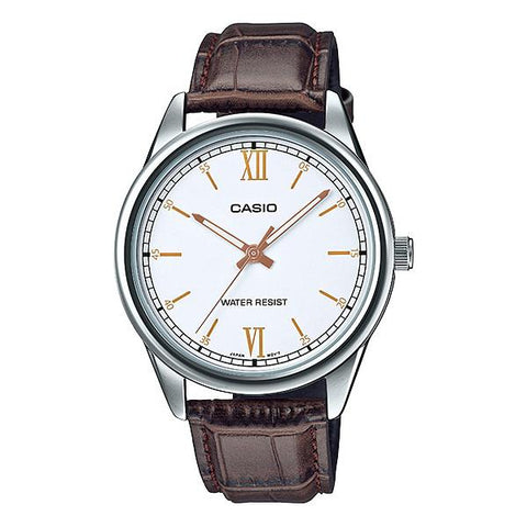 Casio Men's Analog Brown Leather Band Watch MTPV005L-7B3 MTP-V005L-7B3