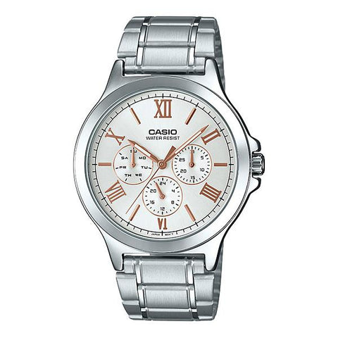 Casio Men's Multi-Hands Silver Stainless Steel Band Watch MTPV300D-7A2 MTP-V300D-7A2