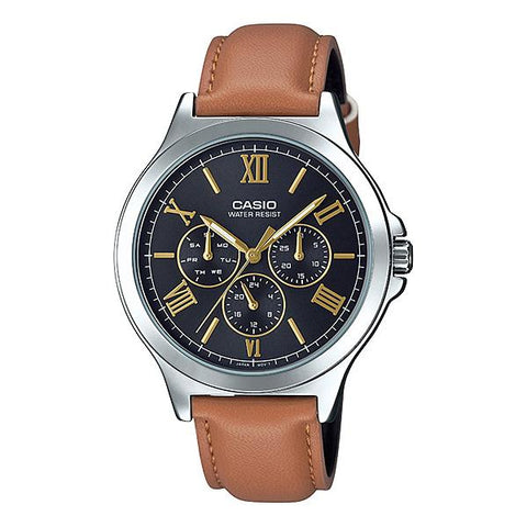 Casio Men's Multi-Hands Brown Leather Band Watch MTPV300L-1A3 MTP-V300L-1A3