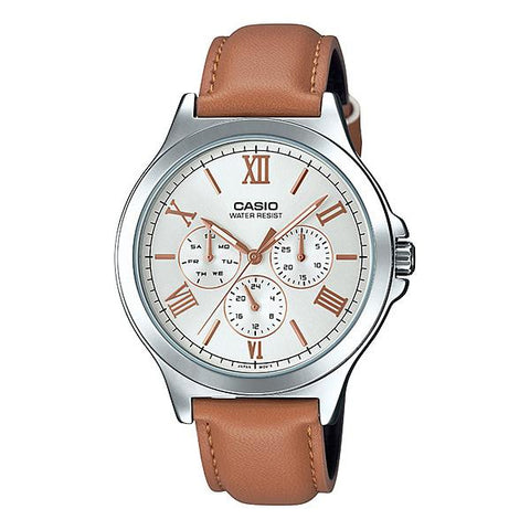 Casio Men's Multi-Hands Brown Leather Band Watch MTPV300L-7A2 MTP-V300L-7A2