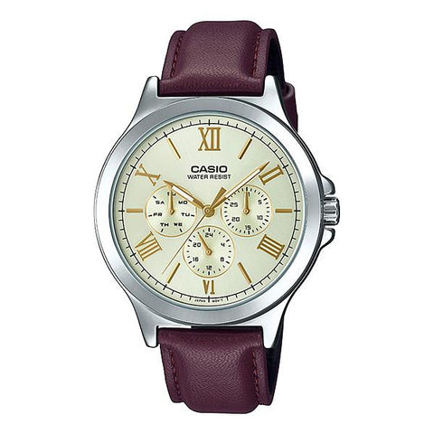 Casio Men's Multi-Hands Dark Brown Leather Band Watch MTPV300L-9A MTPV300L-9A