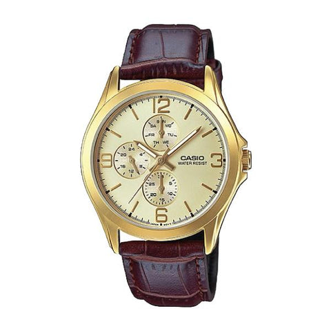 Casio Men's Standard Analog Dark Brown Leather Strap Watch MTPV301GL-9A MTP-V301GL-9A