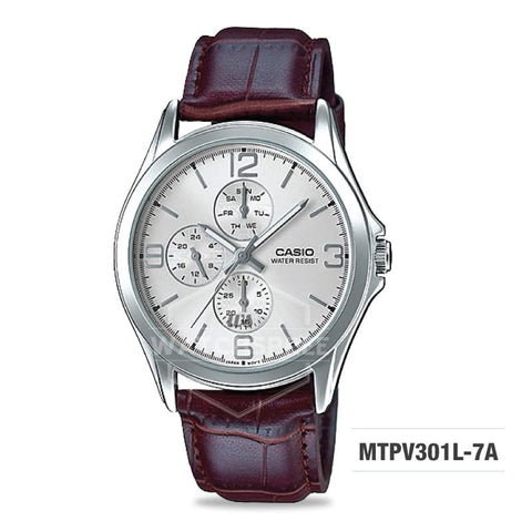 Casio Men's Standard Analog Dark Brown Leather Strap Watch MTPV301L-7A