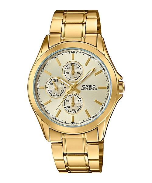 97d758793 Casio Men's Standard Analog Gold Tone Stainless Steel Band Watch  MTPV302G-9A MTP-V302G