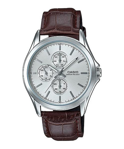 Casio Men's Standard Analog Brown Leather Strap Watch MTPV302L-7A MTP-V302L-7A