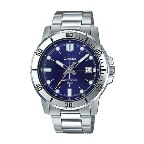 Casio Men's Diver Look Silver Stainless Steel Band Watch MTPVD01D-2E MTP-VD01D-2E