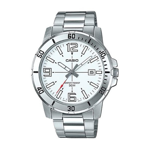 Casio Men's Diver Look Silver Stainless Steel Band Watch MTPVD01D-7B MTP-VD01D-7B