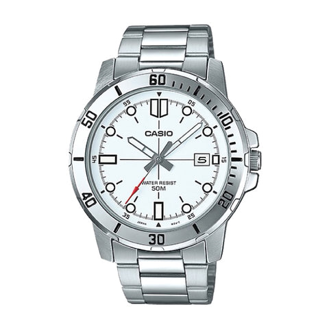 Casio Men's Diver Look Silver Stainless Steel Band Watch MTPVD01D-7E MTP-VD01D-7E