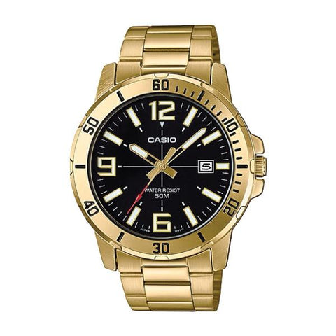 Casio Men's Diver Look Gold Tone Stainless Steel Band Watch MTPVD01G-1B MTP-VD01G-1B