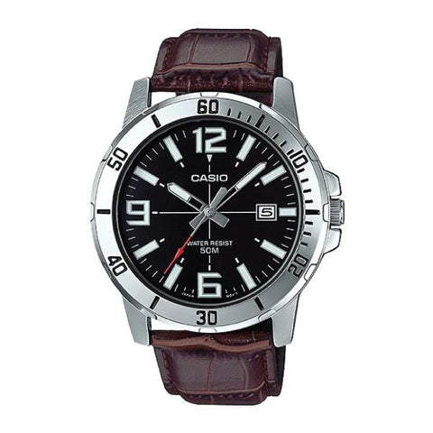 Casio Men's Diver Look Dark Brown Leather Strap Watch MTPVD01L-1B MTP-VD01L-1B