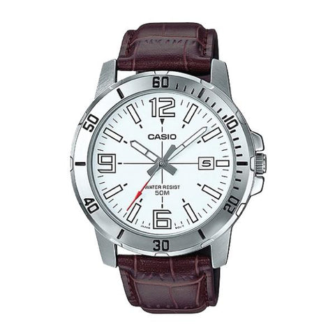 Casio Men's Diver Look Dark Brown Leather Strap Watch MTPVD01L-7B MTP-VD01L-7B