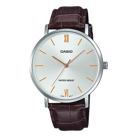 Casio Men's Analog Dark Brown Leather Band Watch MTPVT01L-7B2 MTP-VT01L-7B2