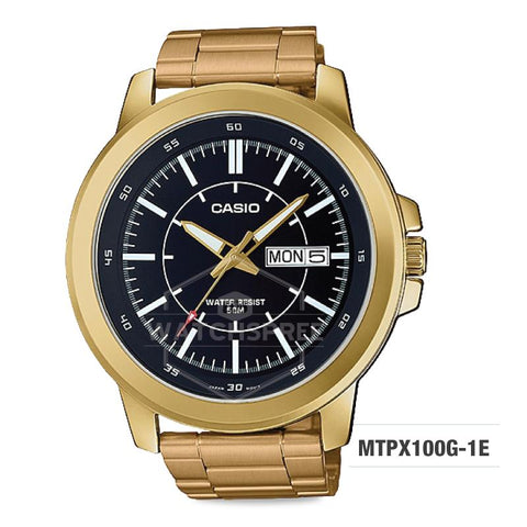 Casio Men's Standard Analog Gold Tone Stainless Steel Watch MTPX100G-1E